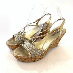 Prada sandals 40 EU gold silver braided wedge shoe